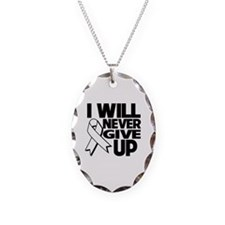 Never Give Up Lung Cancer Necklace Oval Charm