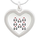 Penguins In Love Silver Heart Necklace