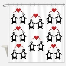 Penguins In Love Shower Curtain
