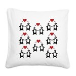 Penguins In Love Square Canvas Pillow