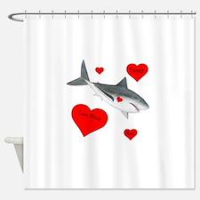 Personalized Shark Valentine Shower Curtain