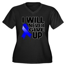 Never Give Up Colon Cancer Women's Plus Size V-Nec