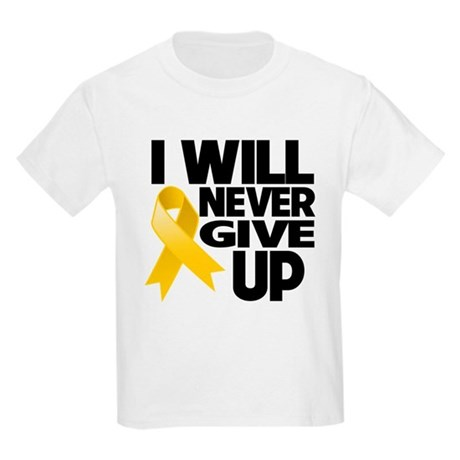 Never Give Up Childhood Cancer Kids Light T-Shirt