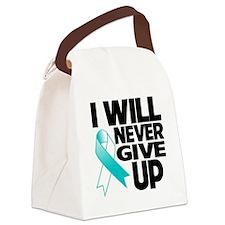 Never Give Up Cervical Cancer Canvas Lunch Bag