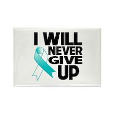 Never Give Up Cervical Cancer Rectangle Magnet