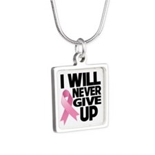 Never Give Up Breast Cancer Silver Square Necklace