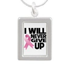 Never Give Up Breast Cancer Silver Portrait Neckla