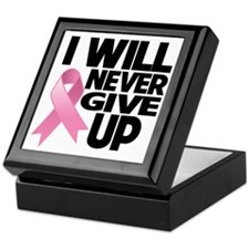 Never Give Up Breast Cancer Keepsake Box