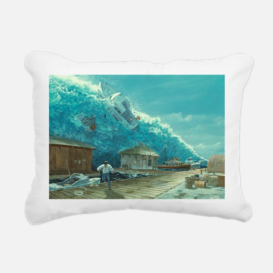 Artwork of a tsunami destroying a small harbour -