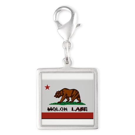 California Flag Molon Labe Silver Square Charm