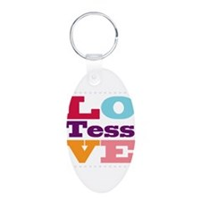 I Love Tess Aluminum Oval Keychain