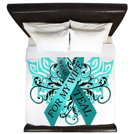 I Wear Teal for my Wife King Duvet
