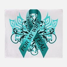 I Wear Teal for my Wife Throw Blanket