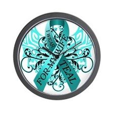 I Wear Teal for my Wife Wall Clock