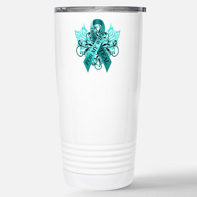 I Wear Teal for my Wife Travel Mug
