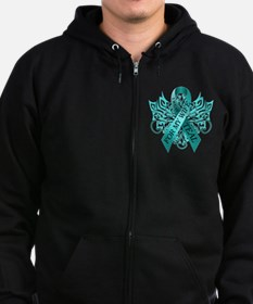 I Wear Teal for my Wife Zip Hoodie (dark)