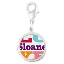 I Love Sloane Silver Round Charm