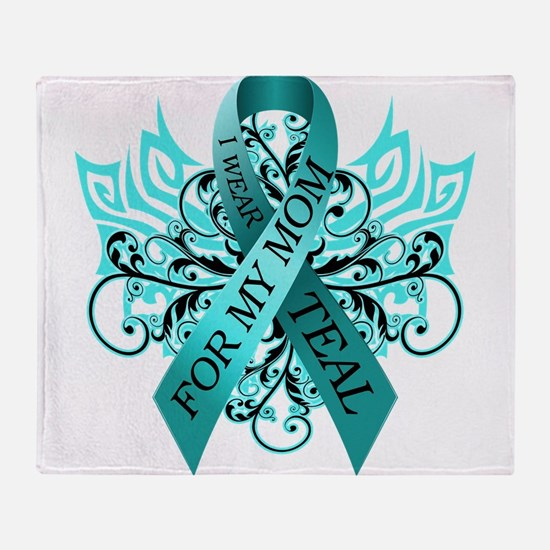 I Wear Teal for my Mom Throw Blanket