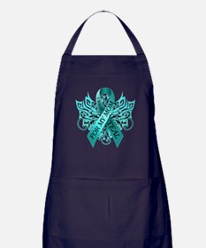 I Wear Teal for my Mom Apron (dark)