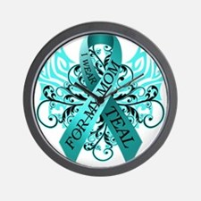 I Wear Teal for my Mom Wall Clock