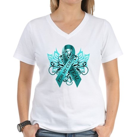 I Wear Teal for my Cousin Women's V-Neck T-Shirt