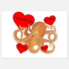 Personalized Octopus Valentine 5x7 Flat Cards