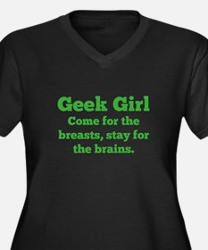 Geek Girl Women's Plus Size V-Neck Dark T-Shirt