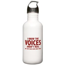 I Know The Voices Aren't Real Sports Water Bottle