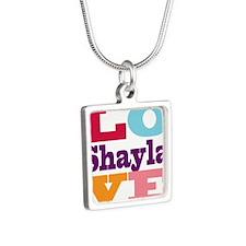 I Love Shayla Silver Square Necklace