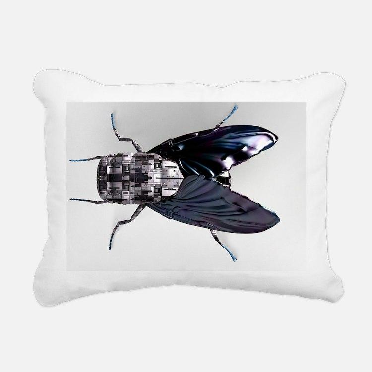 Robot fly - Rectangular Canvas Pillow