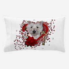 Valentines - Key to My Heart - Westie Pillow Case