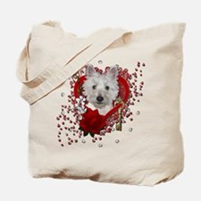 Valentines - Key to My Heart - Westie Tote Bag