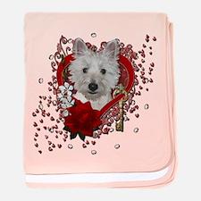 Valentines - Key to My Heart - Westie baby blanket