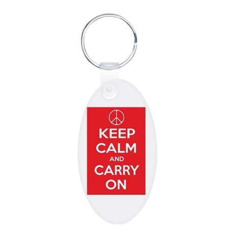 KEEP CALM Peace Sign Aluminum Oval Keychain
