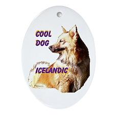cool dog icelandic Ornament (Oval)
