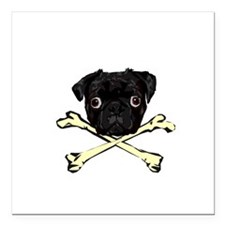 "Pug and Crossbones Square Car Magnet 3"" x 3"""