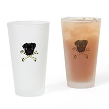 Pug and Crossbones Drinking Glass