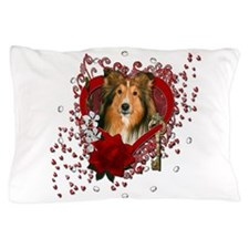 Valentines - Key to My Heart - Sheltie Pillow Case