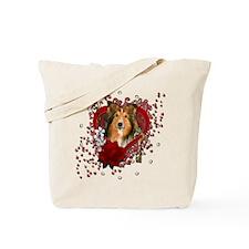 Valentines - Key to My Heart - Sheltie Tote Bag