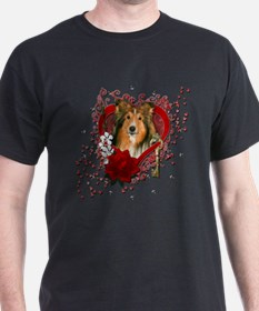 Valentines - Key to My Heart - Sheltie T-Shirt