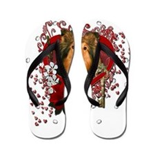 Valentines - Key to My Heart - Sheltie Flip Flops