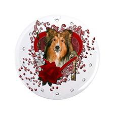 "Valentines - Key to My Heart - Sheltie 3.5"" Button"