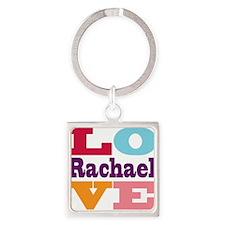 I Love Rachael Square Keychain