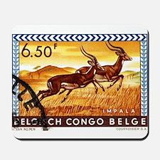 1959 Belgian Congo Impalas Postage Stamp Mousepad