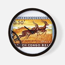 1959 Belgian Congo Impalas Postage Stamp Wall Cloc