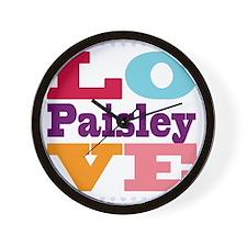 I Love Paisley Wall Clock