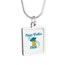 Power Walker Chick #3 Silver Square Necklace