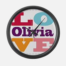 I Love Olivia Large Wall Clock
