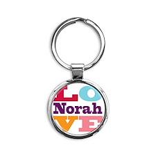 I Love Norah Round Keychain