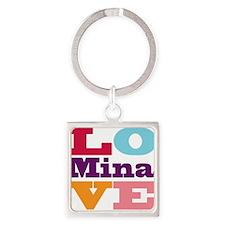 I Love Mina Square Keychain